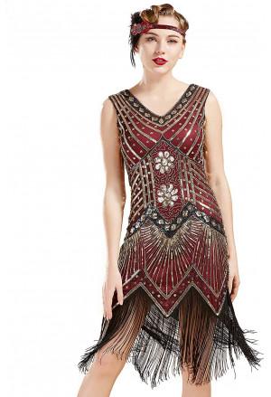 1920s Sleeveless V Neck Sequin Inspired Cocktail Fringed Flapper Dress