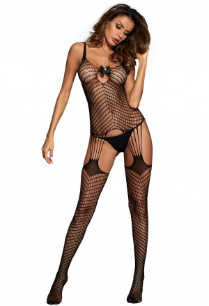 Black Mesh Pothole and Fishnet Bodystocking