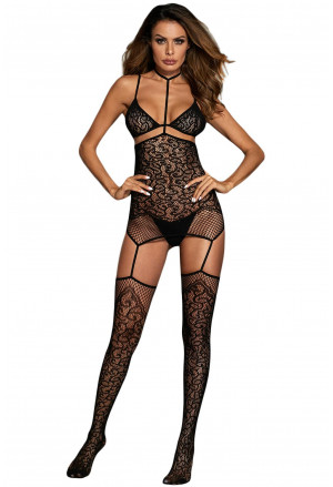 Black Lace Stretch Garter Bodystocking