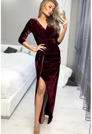 Deep V Neck Ruched Side Slit Party Velvet Dress