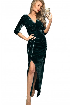 Deep V Neck Ruched Side Slit Party Velvet Dress