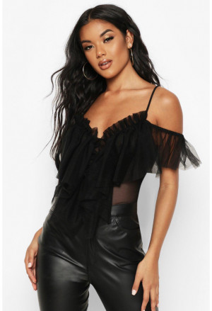 Black Tulle Mesh Thong Bodysuit