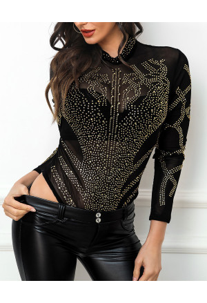 Black Gold Rhinestone Faux Bustier Mesh Long Sleeves Bodysuit