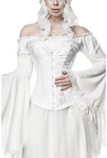 Luxurious white vamp corset with rhinestones