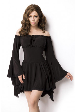 Black pirate goth long sleeves dress - blouse