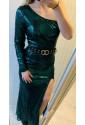 Fortune One Shoulder Front Slit Sequin Gown