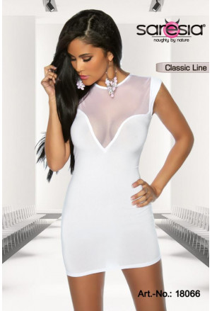 White minidress with front mesh insert Saresia