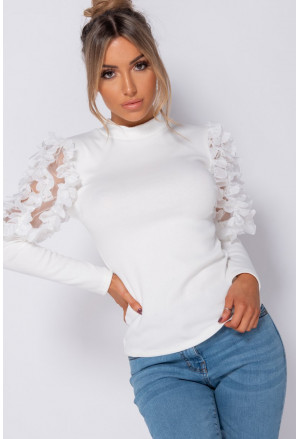White sheer frill detail sleeve high neck rib knit top