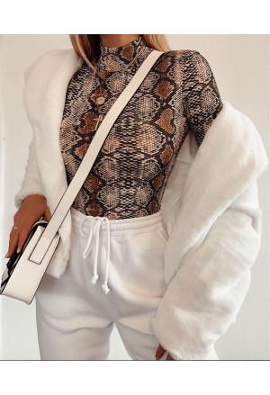 Snake Print Mock Neck Long Sleeves Bodysuit