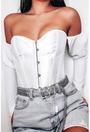 Steel boned satin corset - white