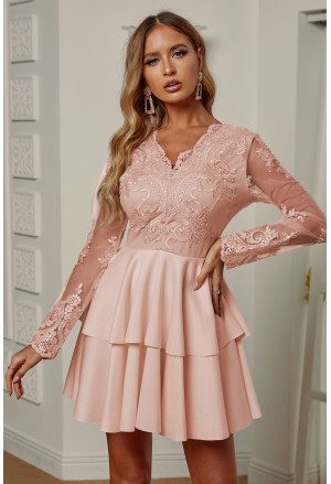 Nude Sequin Embroidered Multilayer Skater Dress