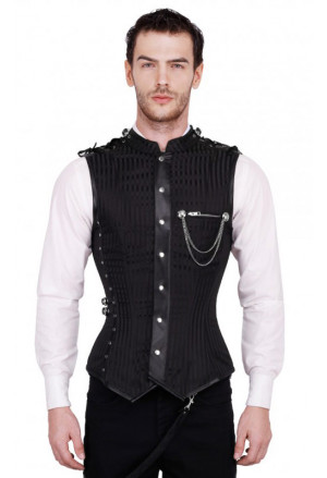Mens Steampunk Faux Black Overchest Waistcoat Corset