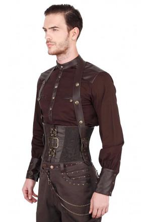 Men's Gothic Brown Brocade Halter Waistcoat Corset