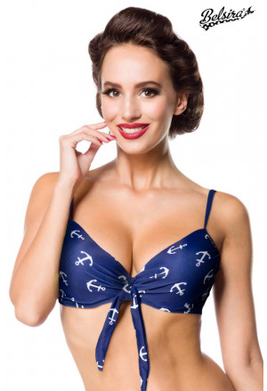 Vintage swim bra with sailor´s anchor pattern