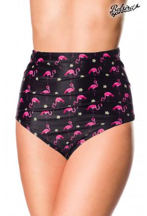 High Waist Swim Panty with flamingo pattern