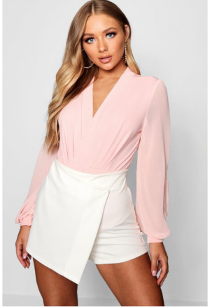 Elegant Wrap Chiffon Long Sleeve Bodysuit