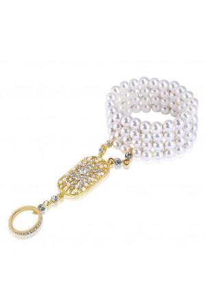 Pearl art deco vintage bracelet with rhinestone ring set