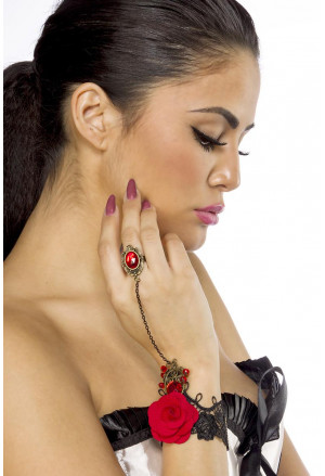 Gothic red rose bracelet with ring
