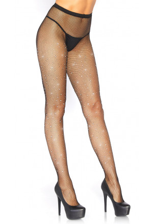 Black fishnet rhinestones pantyhose thighs