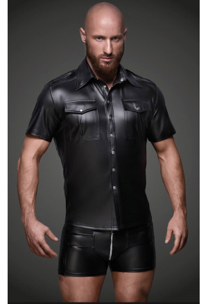 PU Wetlook Short Sleeve Black Shirt