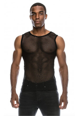 Black Mesh Transparent Tank Top Vest