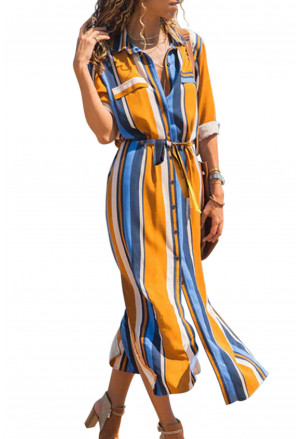 Long colorful dress with strips pattern