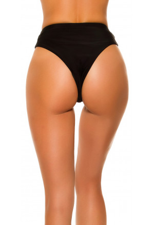 Brazilian bikini high waist panty bottom in black