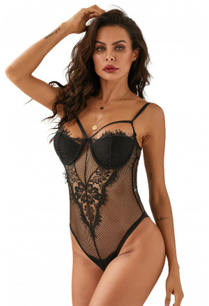 Black Sheer Eyelash Lace Teddy Bodysuit