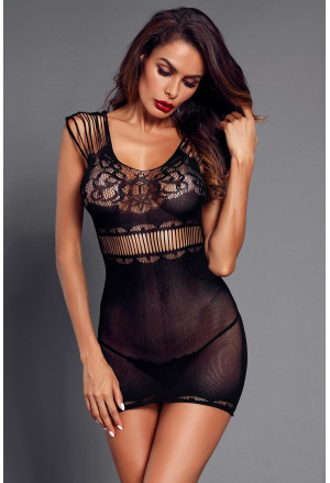 Lace Mesh Strappy Hollow-out Chemise