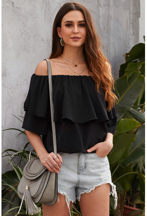 Soft Breeze Frilling Off-shoulder Top
