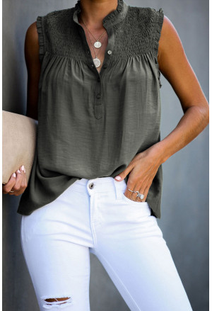 Frilled Tank Top with Buttons