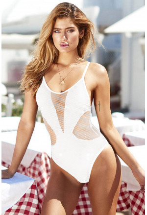 Mesh Hollow-out One-piece Swimsuit