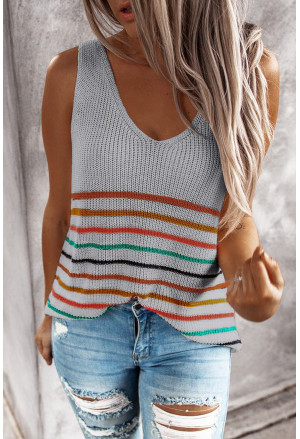 Multicolor Stripes Knit Tank Top
