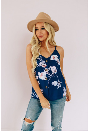 Floral Print Button Up Tank Top
