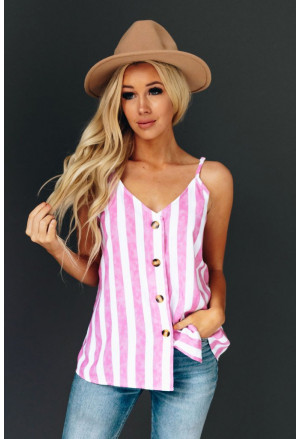 Button Up Stripe Cami Top