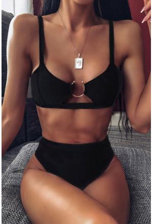 Solid Black High Waisted Bikini Swimsuit
