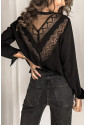 Patchwork Lace Cut out Backless V Neck Shirt