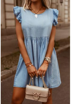 Flutter Sleeve Ruched Denim Casual Dress