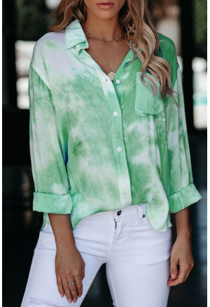 Whirlwind Tie Dye Button Shirt with Pocket