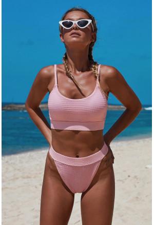 Two-piece Knit Textured Crop Bikini Set