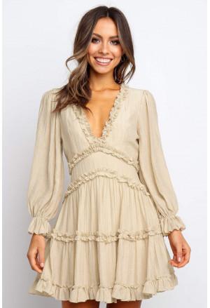 V Neck Ruffle Detailing Open Back Dress