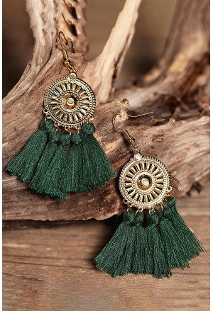 Sunflower Fan-shaped White Tassel Earrings