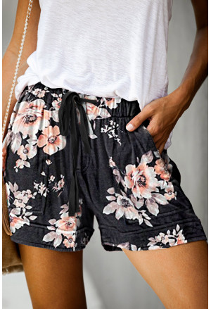 Print Drawstring Casual Elastic Waist Pocketed Shorts