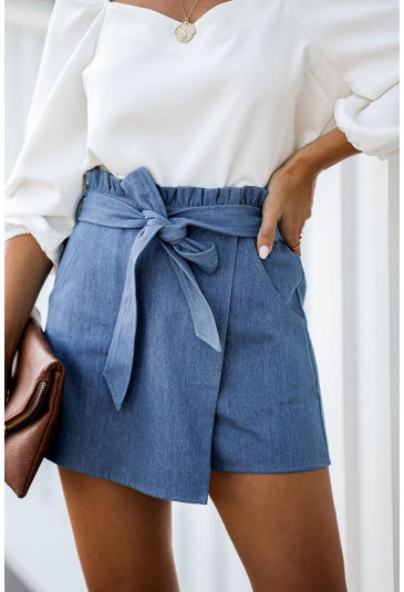 Sky Blue Pocketed Denim Wrap Short