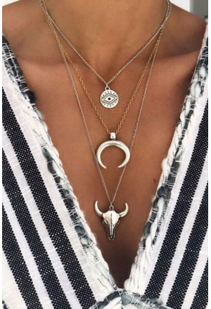 Steer Skull Moon Eye Multi-Layered Necklace