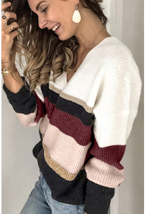 Casual Color-Block Striped Long Sleeve V Neck Sweater