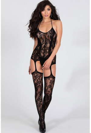Transparent Floral Halter Backless Bodystocking
