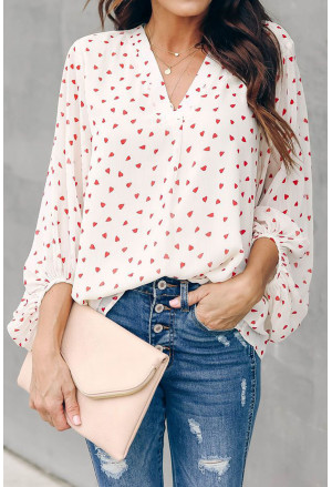 White Love You Boo Balloon Sleeve Blouse