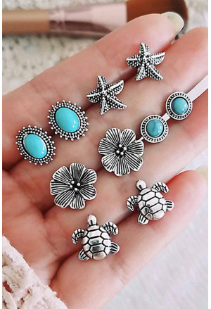 5 Pcs Fashion Turquoise Stud Earrings Set