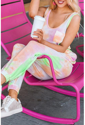 Tie Dye Drawstring Jogging Jumpsuit
